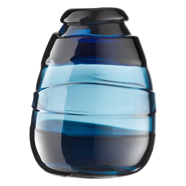 For Sale: Blue (02385) Extra Large Medium Sassi Vases in Hand Blown Murano Glass by Luciano Gaspari