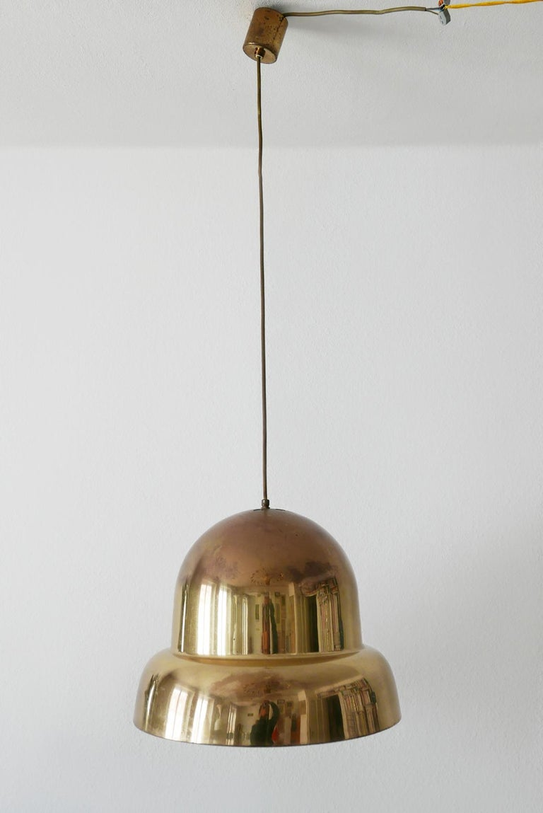 German Extra Large Mid-Century Modern Brass Pendant Lamp by Bergboms, 1950s, Sweden For Sale