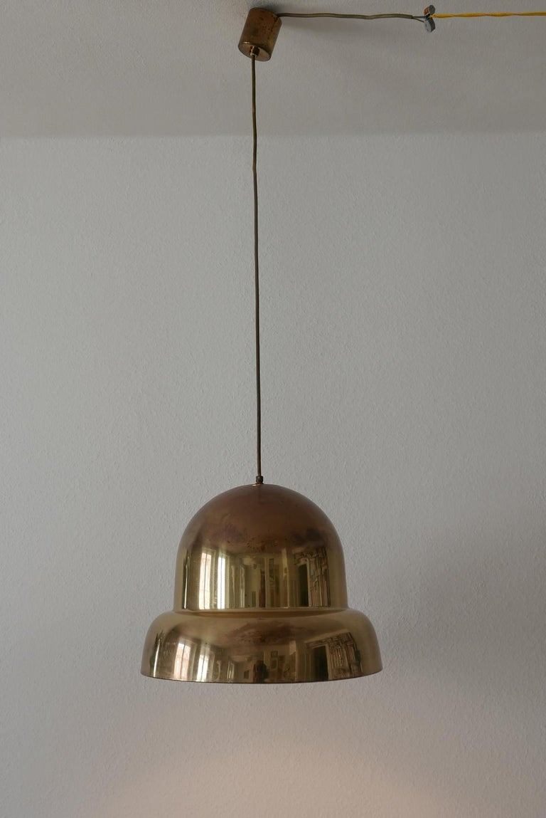 Mid-20th Century Extra Large Mid-Century Modern Brass Pendant Lamp by Bergboms, 1950s, Sweden For Sale