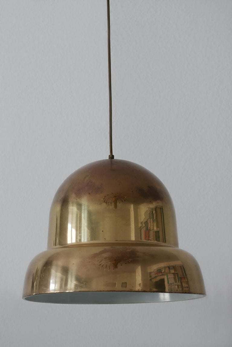 Extra Large Mid-Century Modern Brass Pendant Lamp by Bergboms, 1950s, Sweden For Sale 1