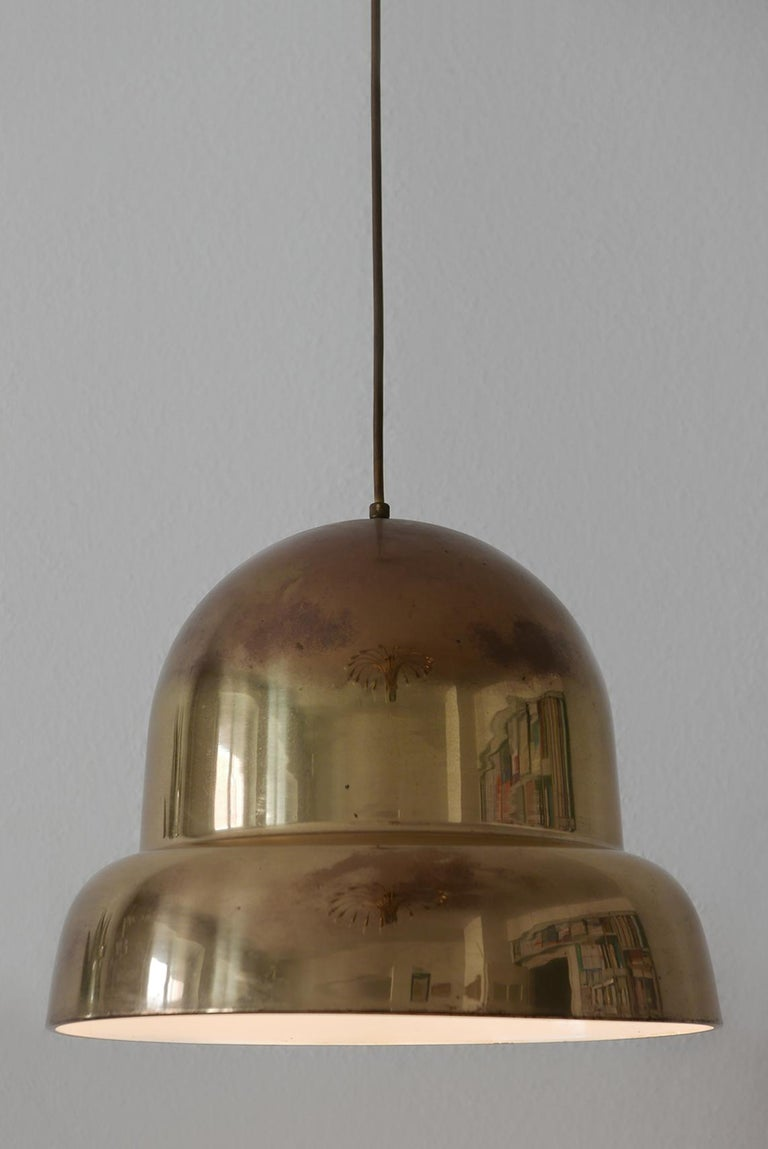 Extra Large Mid-Century Modern Brass Pendant Lamp by Bergboms, 1950s, Sweden For Sale 2