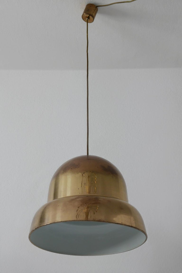 Extra Large Mid-Century Modern Brass Pendant Lamp by Bergboms, 1950s, Sweden For Sale 3