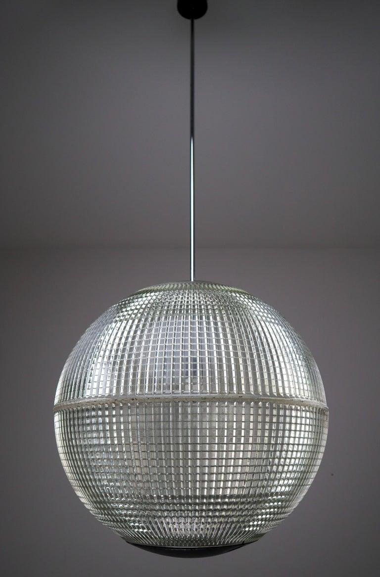 French XL Mid-Century Modern Holophane Paris Street Pendant Lights, France, 1960s For Sale