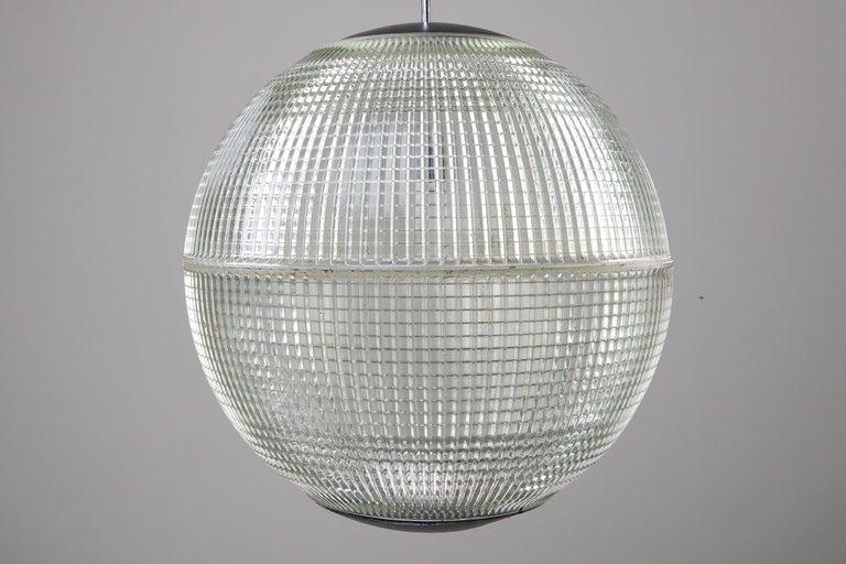 Glass XL Mid-Century Modern Holophane Paris Street Pendant Lights, France, 1960s For Sale