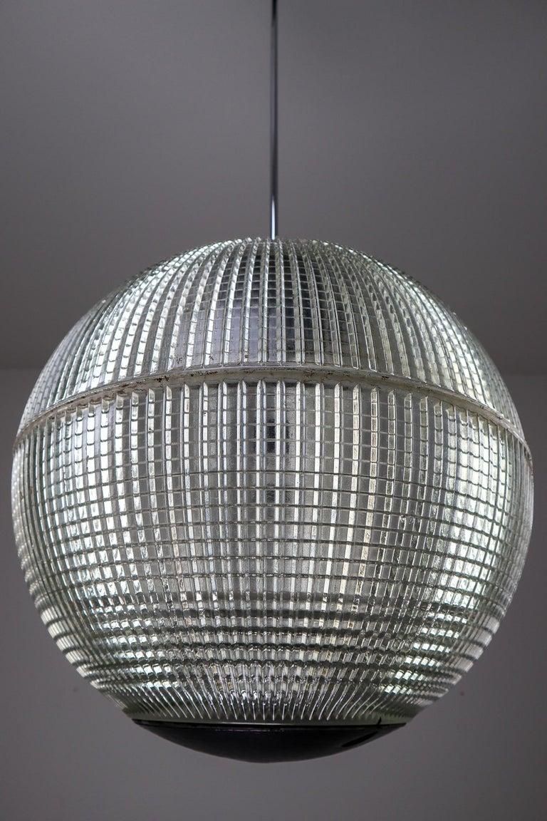 XL Mid-Century Modern Holophane Paris Street Pendant Lights, France, 1960s For Sale 1