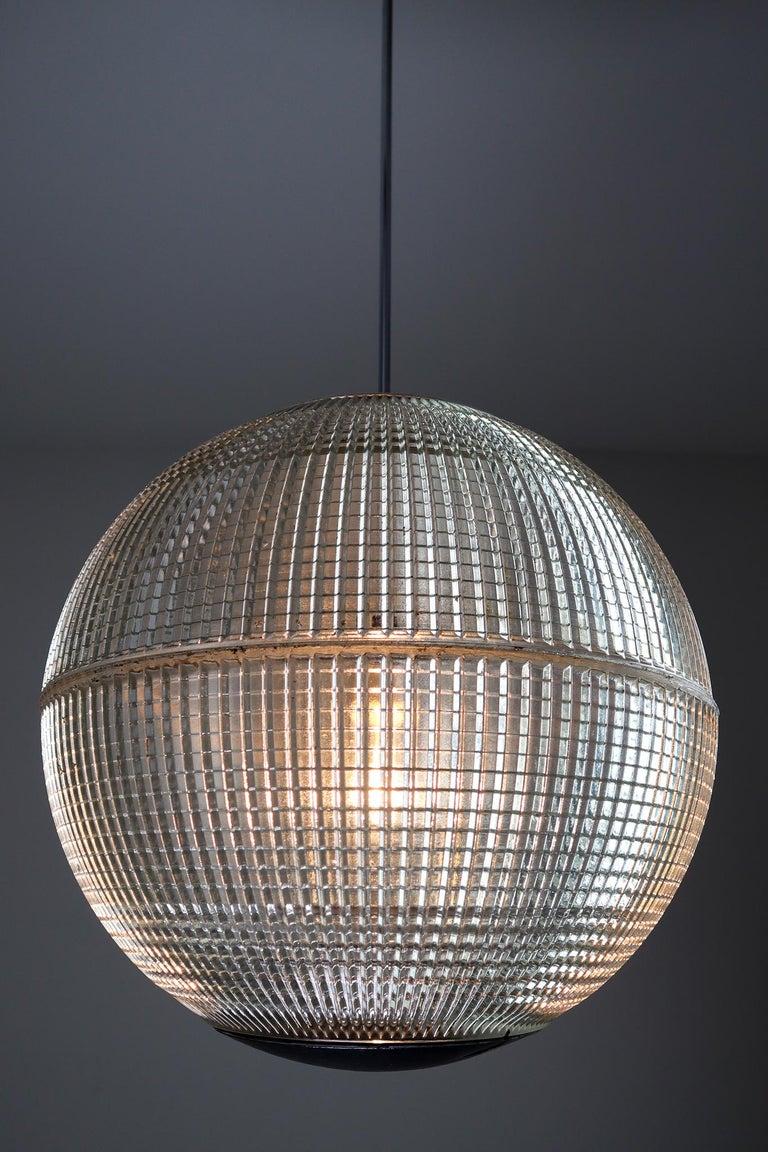 XL Mid-Century Modern Holophane Paris Street Pendant Lights, France, 1960s For Sale 3
