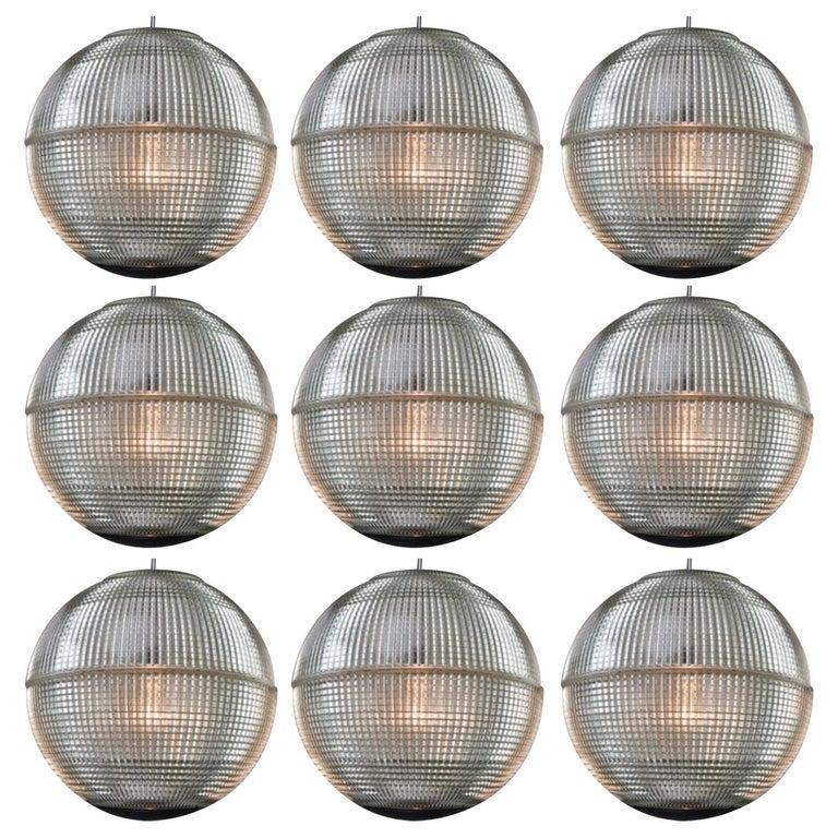 XL Mid-Century Modern Holophane Paris Street Pendant Lights, France, 1960s For Sale