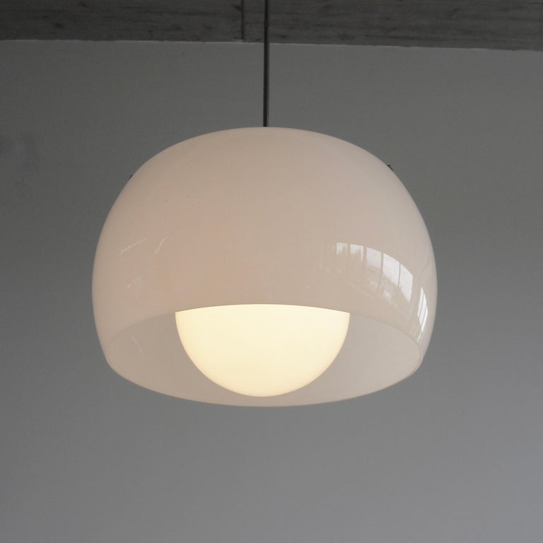 Glass XL Omega Hanging Lamp by Vico Magistretti, 1962 For Sale