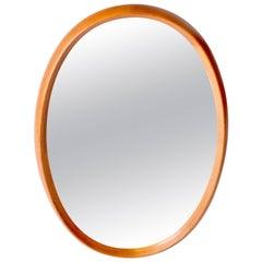 XL Oval Danish Modern Mirror in Two-Tone Teak by Pedersen & Hansen, 1960's