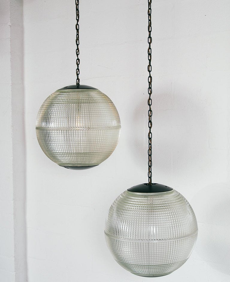 Extra Large Midcentury Parisian Glass Globe Ball Pendant Lights, Holophane, Pair For Sale 3