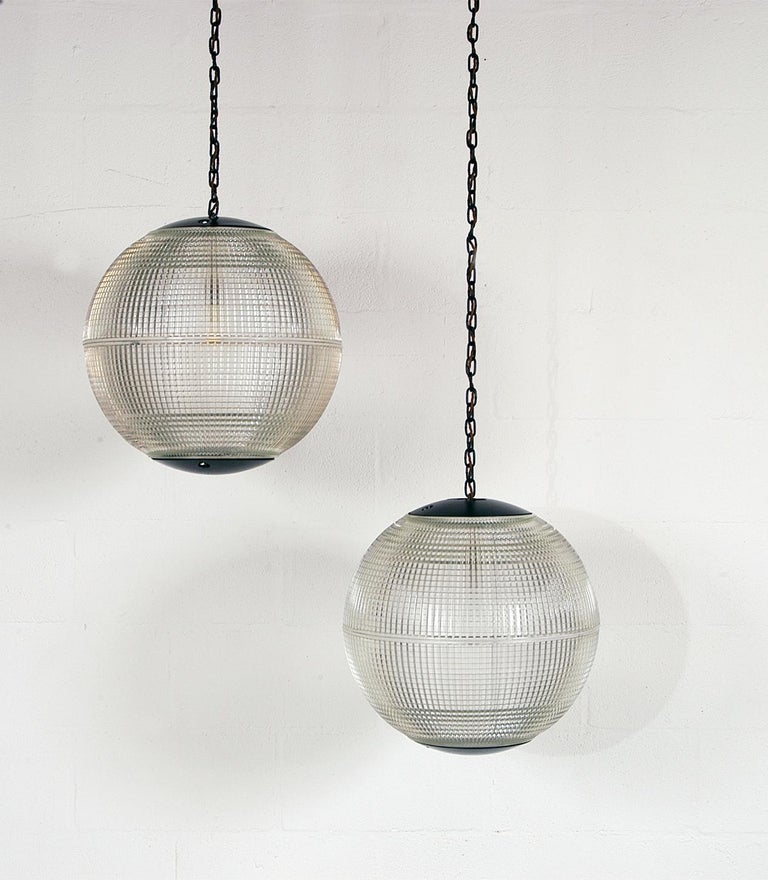 Industrial Extra Large Midcentury Parisian Glass Globe Ball Pendant Lights, Holophane, Pair For Sale