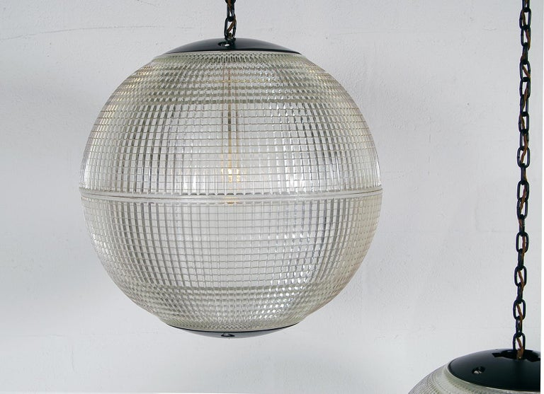 Pressed Extra Large Midcentury Parisian Glass Globe Ball Pendant Lights, Holophane, Pair For Sale