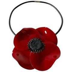 XL Red Poppy Statement Necklace/Brooch