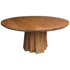 XL Round Solid Oak Dining Table with Cubist Base in Style of Pierre Chapo France
