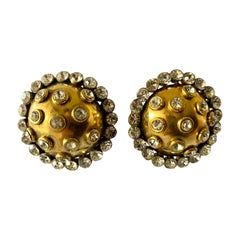 XL Vintage Chanel Gold Dome Diamante Statement Earrings