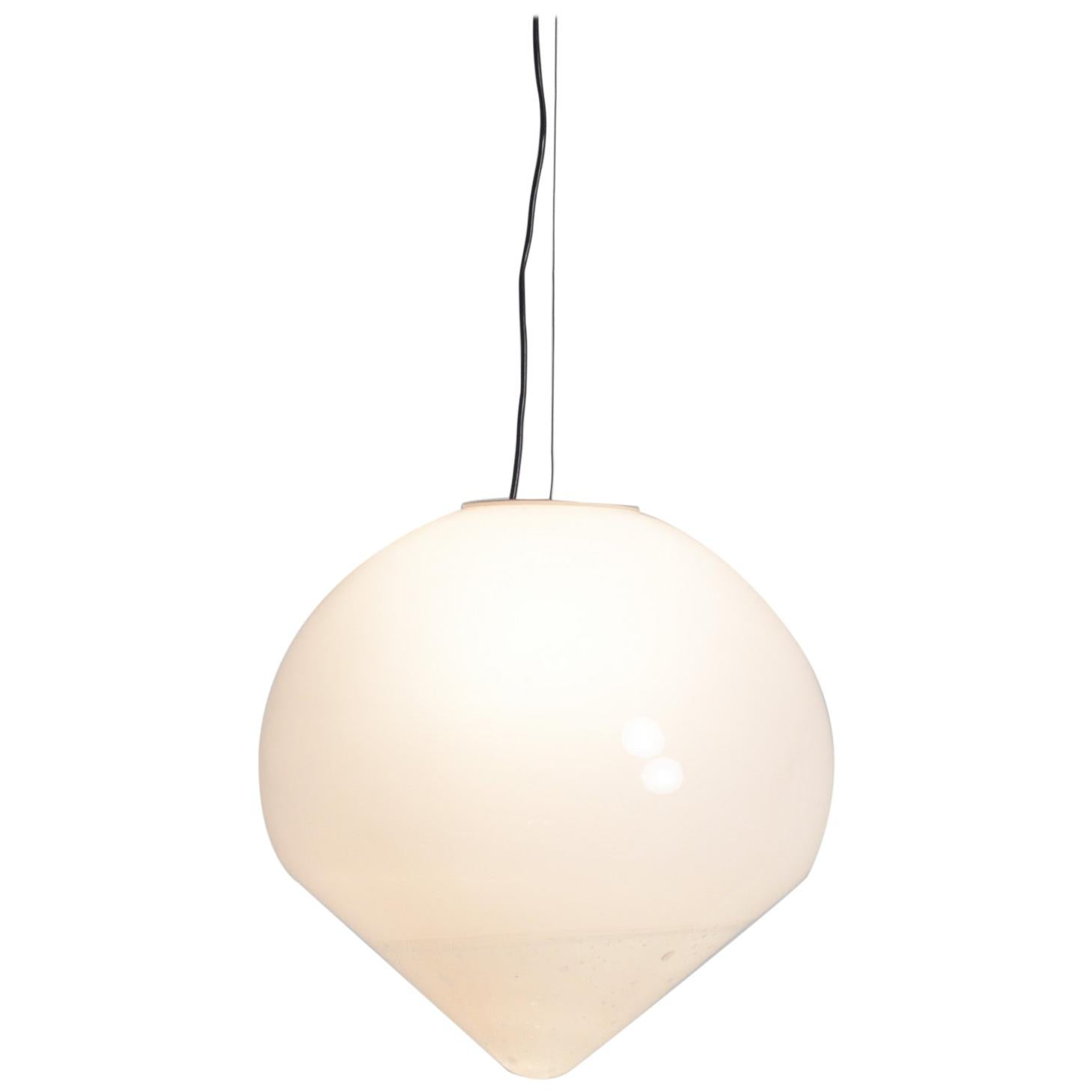 Extra Large White Murano Glass Pendant Lamp by A. Barbini
