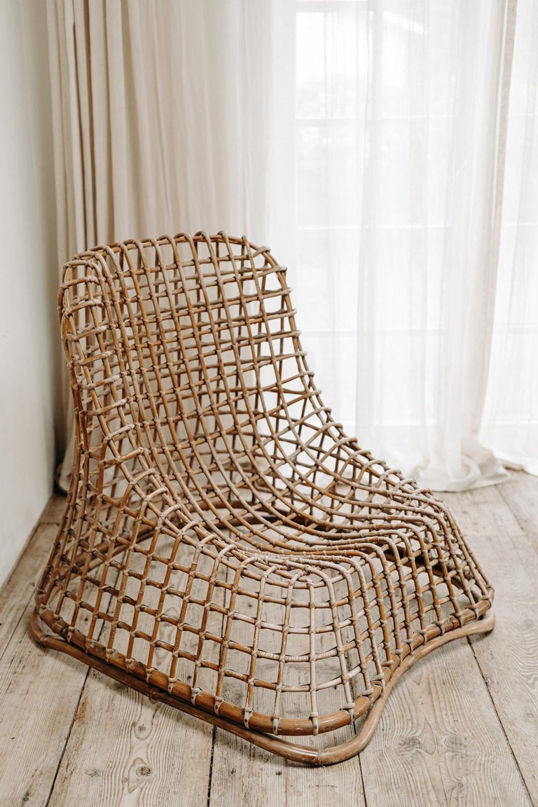 20th Century Xl Wicker Chair by Giovanni travasa  For Sale