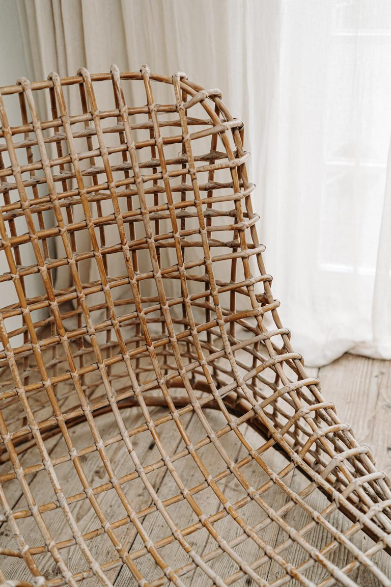 Bamboo Xl Wicker Chair by Giovanni travasa  For Sale
