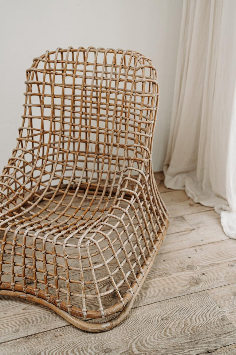 Xl Wicker Chair by Giovanni travasa  For Sale 1