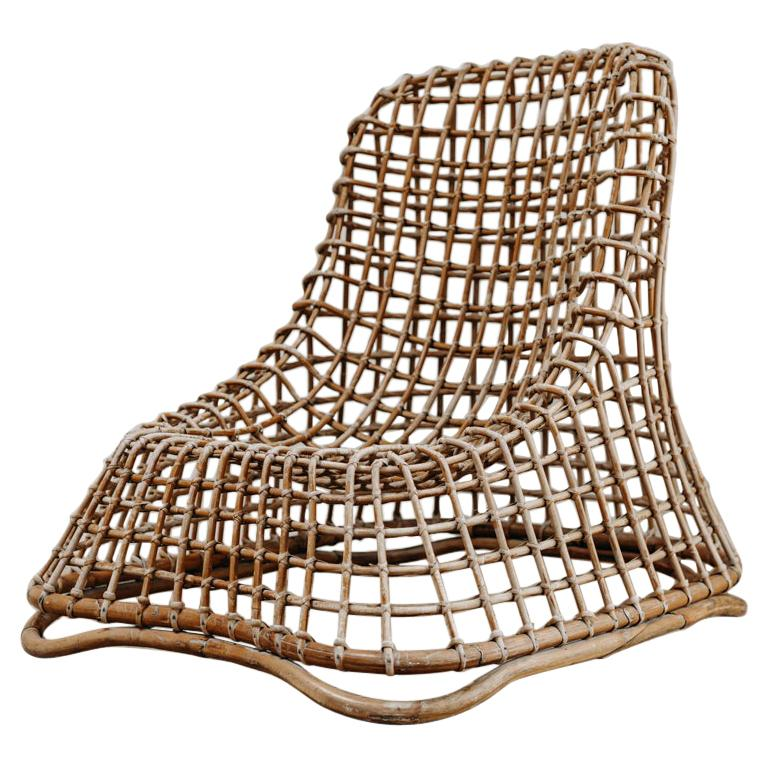 Xl Wicker Chair by Giovanni travasa  For Sale