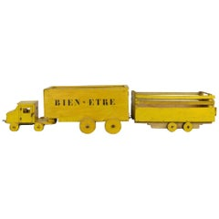 Extra Large Wooden Toy Truck with Trailers, Folk Art Animal Transport