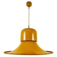Extra Large Yellow Metal Hanging Lamp by Joe Colombo for Stilnovo, Italy, 1950s