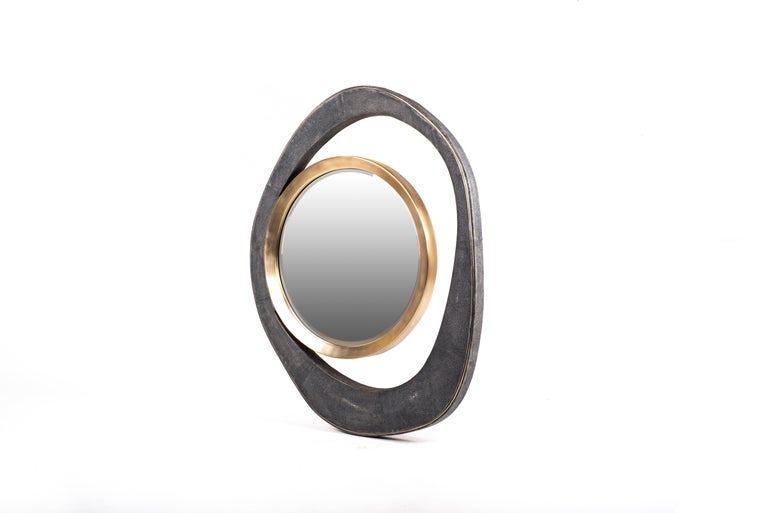 Contemporary XLarge Peacock Mirror in Black Shagreen and Bronze-Patina Brass by R&Y Augousti For Sale