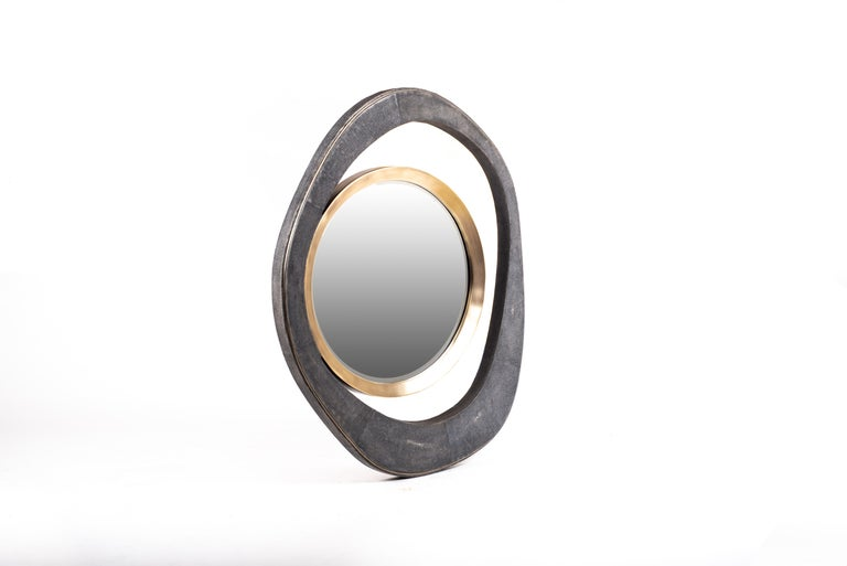 XLarge Peacock Mirror in Black Shagreen and Bronze-Patina Brass by R&Y Augousti For Sale 1