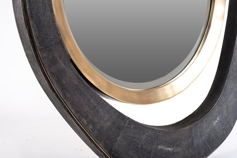 XLarge Peacock Mirror in Black Shagreen and Bronze-Patina Brass by R&Y Augousti For Sale 2