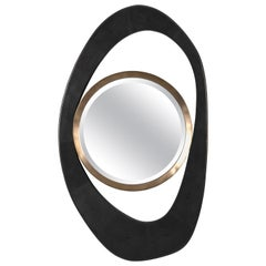 XLarge Peacock Mirror in Black Shagreen and Bronze-Patina Brass by R&Y Augousti