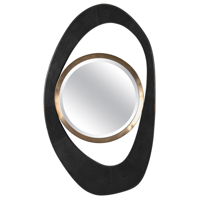 XLarge Peacock Mirror in Black Shagreen and Bronze-Patina Brass by R&Y Augousti For Sale