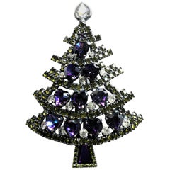 Xmas tree brooch sign. D. Bauer US 2000 silver plated