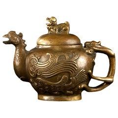 Xuande Mark Bronze Tea Pot Pitcher Shaped as a Phoenix, China, circa 1900
