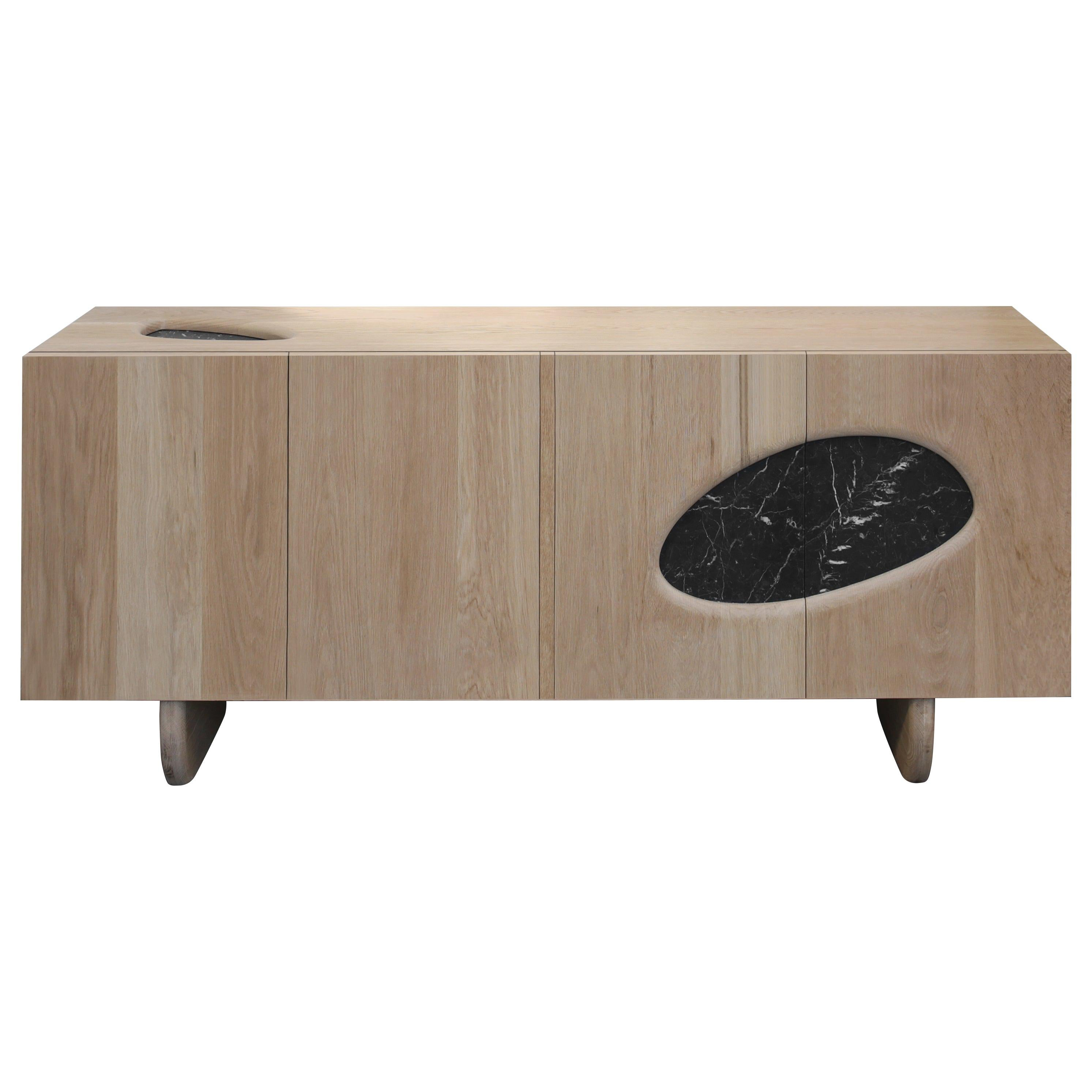 XV, White Oak Credenza with Marble from Collection Noviembre by Joel Escalona