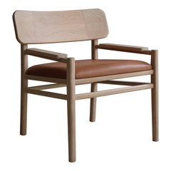 XVI, White Oak Lounge Chair with Leather Seat by Joel Escalona