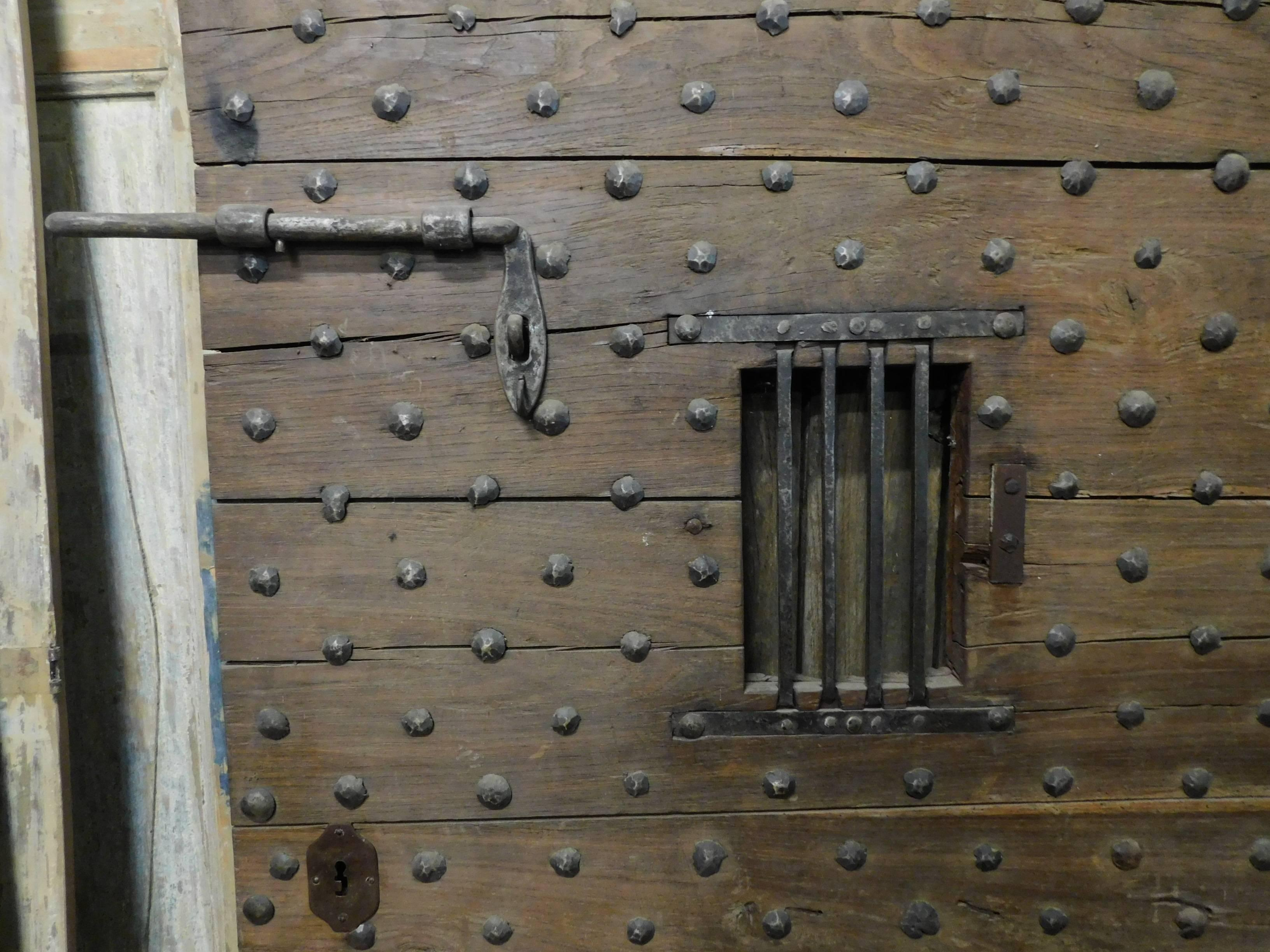 18th Century Walnut Dungeon Door In Good Condition For Sale In Cuneo Italy & 18th Century Walnut Dungeon Door For Sale at 1stdibs