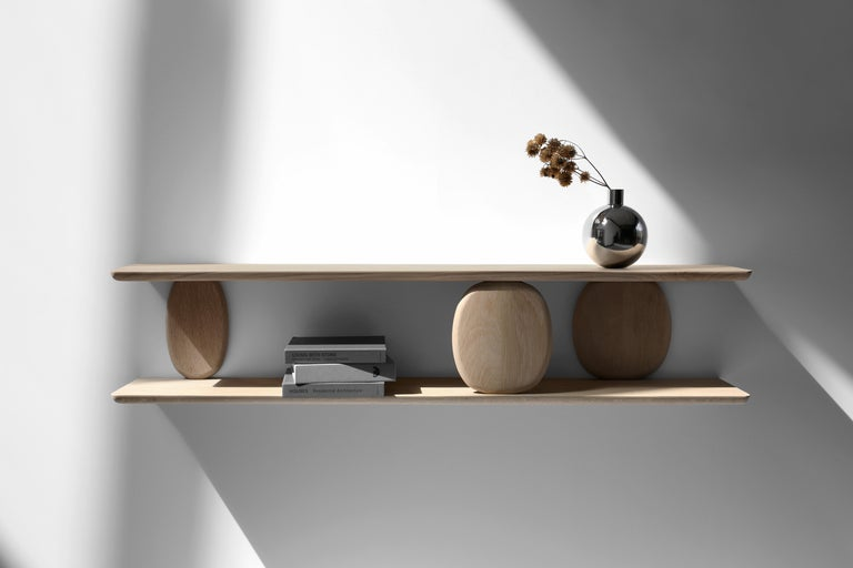 Mexican XVIII, Small White Oak Wall Shelf from Collection Noviembre by Joel Escalona For Sale