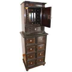 17th Century Cabinet in Rosewood and Tin Fillet