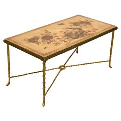 XX Century, French Gitl Bronze Lacquered Coffee Table by Maison Baguès