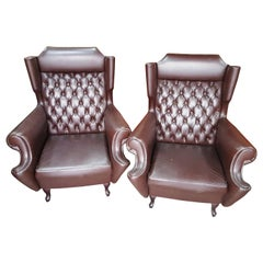 XX Century Pair of Genuine Leather Armchairs, Vintage from the 1950s