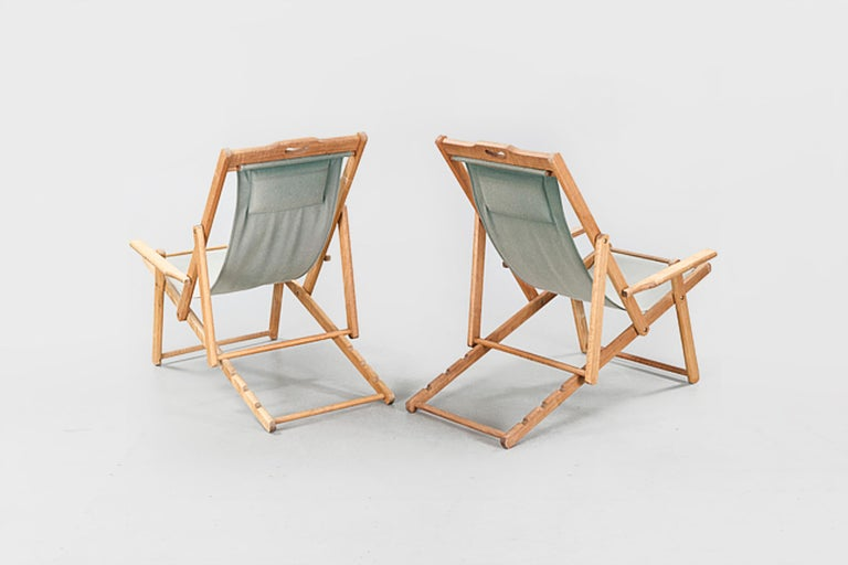 20th century Swedish deckchairs, 1940 or Safari chairs