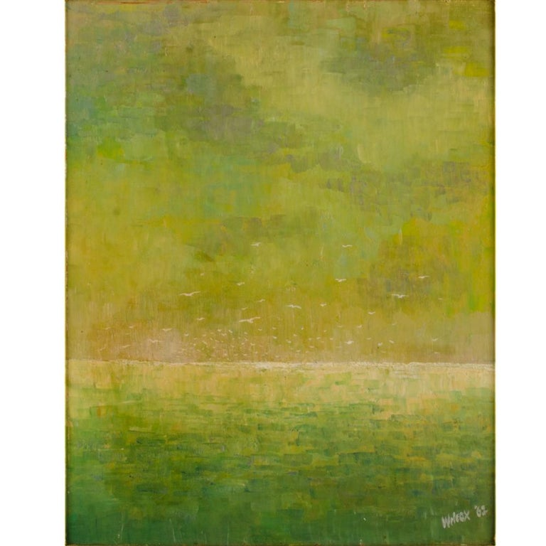 Flock of Seagulls, abstract green ocean with white seaguls flying  - Oil on board, signed lower right and dated '62  - Framed dimensions: 21.75 in x 25.75 in.