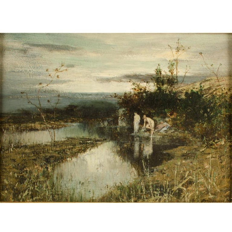 Quick Dip, two women bathing by a pond  - Oil on wood, signed lower right  - Framed dimensions: 25.75 in x 21.75 in.