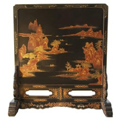 XX°Century Chinese Decorative Screen Lacquered whit Landscape and Sails