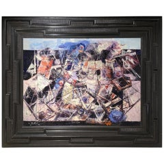 XXe French Large Painting with Frame