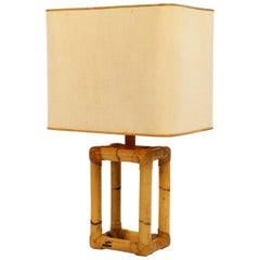 Extra Large 1960s Minimalist Bamboo Table Lamp with a Large Fabric Shade