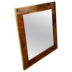 Extra Large Wall Mirror by Aldo Tura Made of Brass and Leather Made in Italy