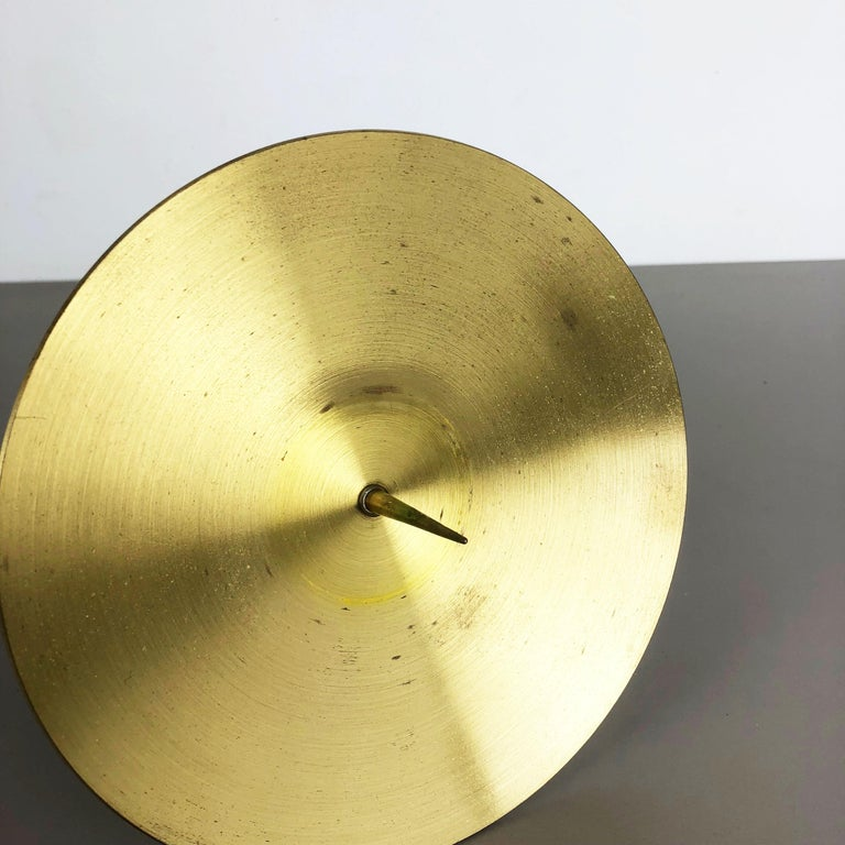 Extra Large Modernist Vintage 1970s Sculptural Brutalist Brass Candleholder For Sale 8