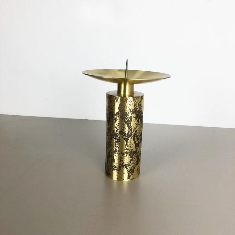 Scandinavian Modern Extra Large Modernist Vintage 1970s Sculptural Brutalist Brass Candleholder For Sale