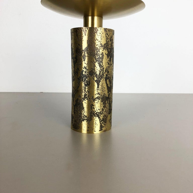 German Extra Large Modernist Vintage 1970s Sculptural Brutalist Brass Candleholder For Sale